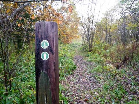厚床パス:廃線路跡の標識1