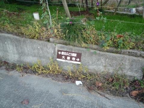深沢コース:ぶどう畑沿いの標識