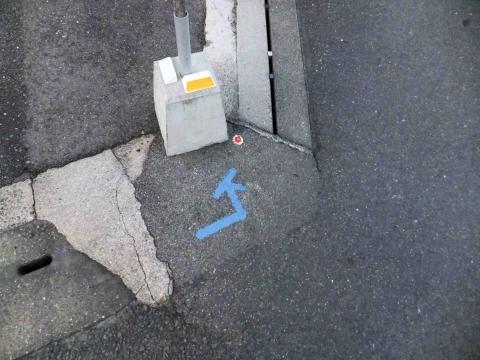 武雄コース:道路にペイントされた矢印(青は正方向、赤は逆方向)